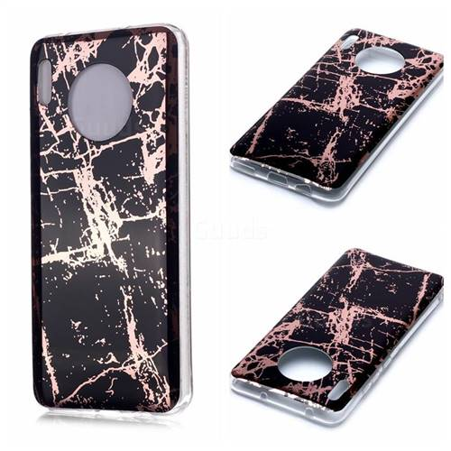 Black Galvanized Rose Gold Marble Phone Back Cover for Huawei Mate 30 Pro