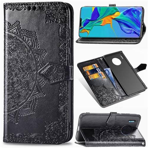 Embossing Imprint Mandala Flower Leather Wallet Case for Huawei Mate 30 Pro - Black