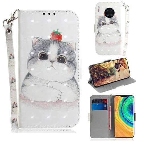 Cute Tomato Cat 3D Painted Leather Wallet Phone Case for Huawei Mate 30 Pro