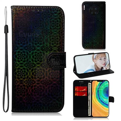 Laser Circle Shining Leather Wallet Phone Case for Huawei Mate 30 Pro - Black
