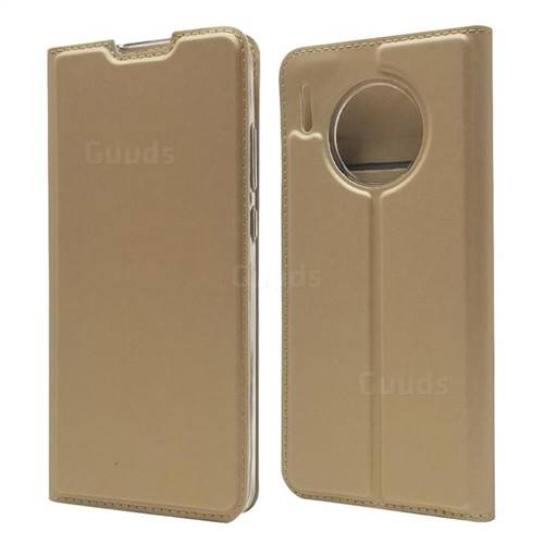 Ultra Slim Card Magnetic Automatic Suction Leather Wallet Case for Huawei Mate 30 Pro - Champagne