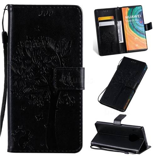 Embossing Butterfly Tree Leather Wallet Case for Huawei Mate 30 Pro - Black
