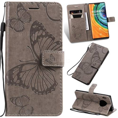 Embossing 3D Butterfly Leather Wallet Case for Huawei Mate 30 Pro - Gray