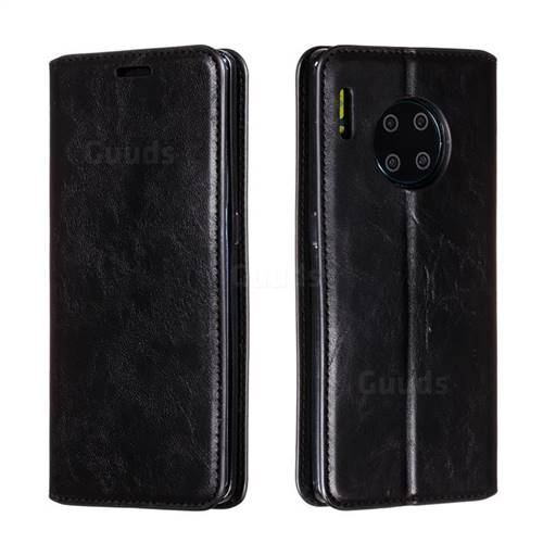 Retro Slim Magnetic Crazy Horse PU Leather Wallet Case for Huawei Mate 30 Pro - Black