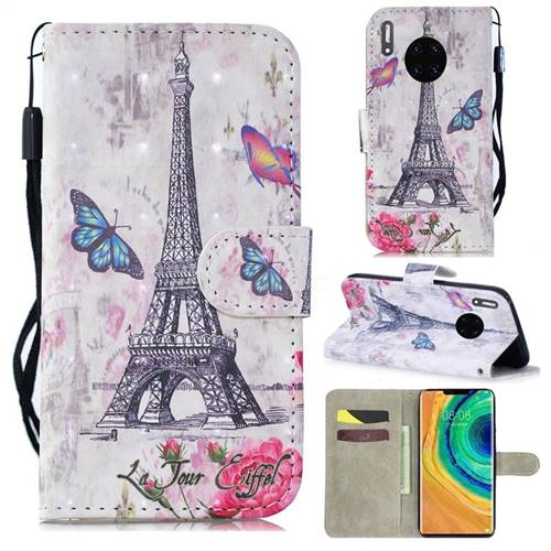 Paris Tower 3D Painted Leather Wallet Phone Case for Huawei Mate 30 Pro
