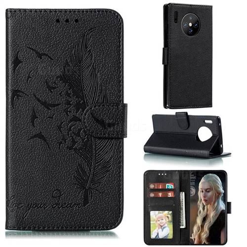 Intricate Embossing Lychee Feather Bird Leather Wallet Case for Huawei Mate 30 Pro - Black