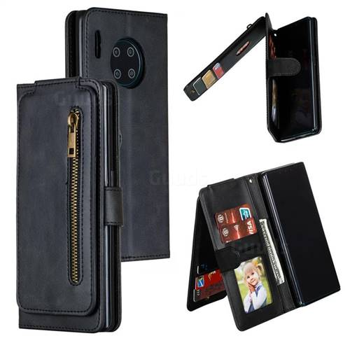 Multifunction 9 Cards Leather Zipper Wallet Phone Case for Huawei Mate 30 Pro - Black