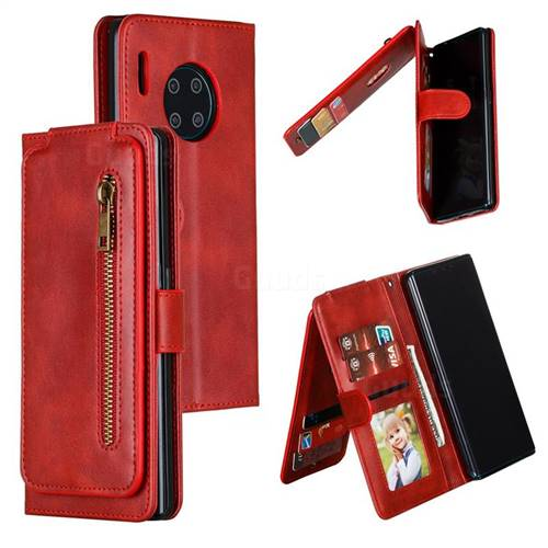 Multifunction 9 Cards Leather Zipper Wallet Phone Case for Huawei Mate 30 Pro - Red