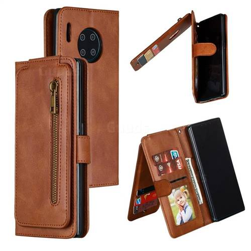Multifunction 9 Cards Leather Zipper Wallet Phone Case for Huawei Mate 30 Pro - Brown