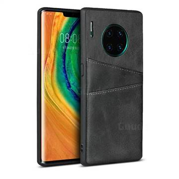 Simple Calf Card Slots Mobile Phone Back Cover for Huawei Mate 30 Pro - Black