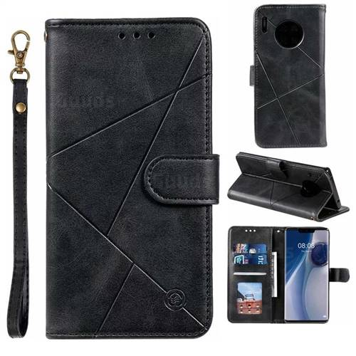 Embossing Geometric Leather Wallet Case for Huawei Mate 30 Pro - Black