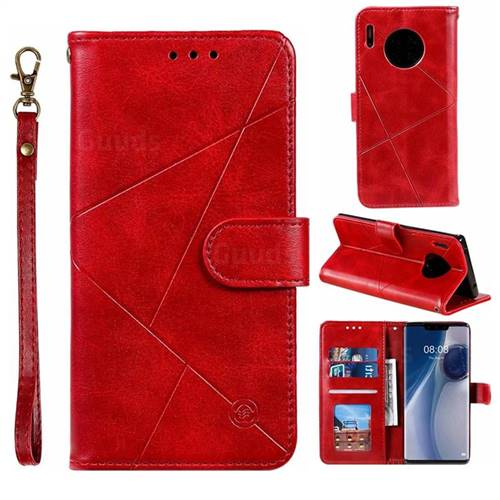 Embossing Geometric Leather Wallet Case for Huawei Mate 30 Pro - Red