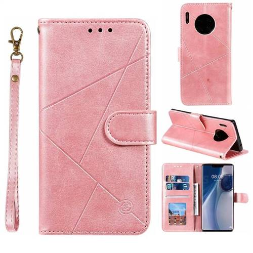 Embossing Geometric Leather Wallet Case for Huawei Mate 30 Pro - Rose Gold