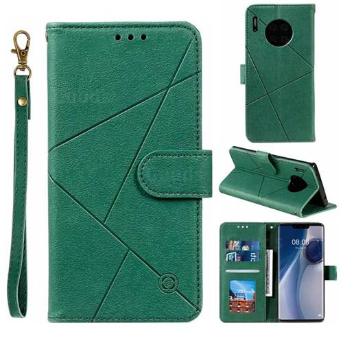 Embossing Geometric Leather Wallet Case for Huawei Mate 30 Pro - Green