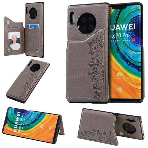 Yikatu Luxury Cute Cats Multifunction Magnetic Card Slots Stand Leather Back Cover for Huawei Mate 30 Pro - Gray