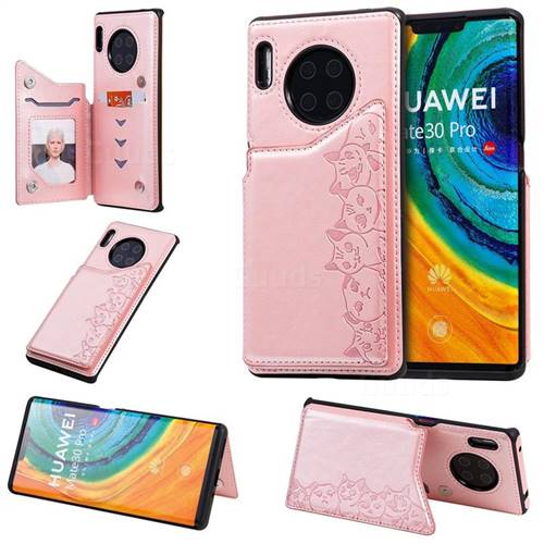 Yikatu Luxury Cute Cats Multifunction Magnetic Card Slots Stand Leather Back Cover for Huawei Mate 30 Pro - Rose Gold