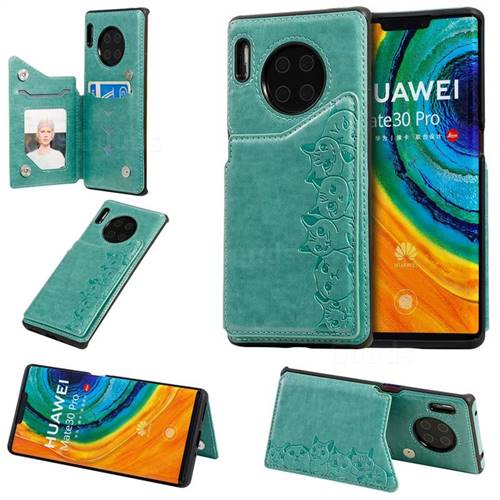 Yikatu Luxury Cute Cats Multifunction Magnetic Card Slots Stand Leather Back Cover for Huawei Mate 30 Pro - Green