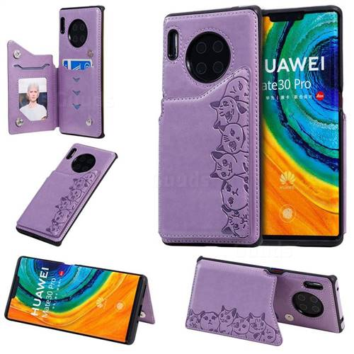 Yikatu Luxury Cute Cats Multifunction Magnetic Card Slots Stand Leather Back Cover for Huawei Mate 30 Pro - Purple
