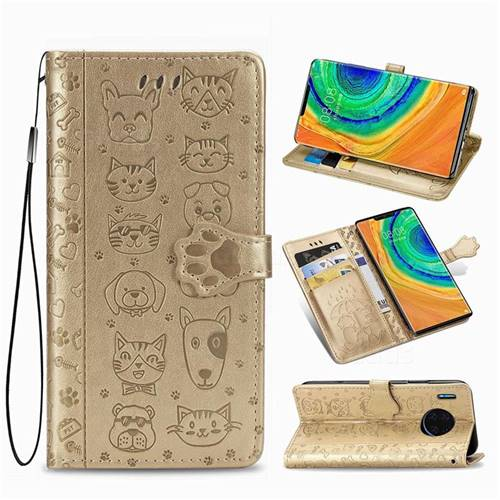 Embossing Dog Paw Kitten and Puppy Leather Wallet Case for Huawei Mate 30 Pro - Champagne Gold