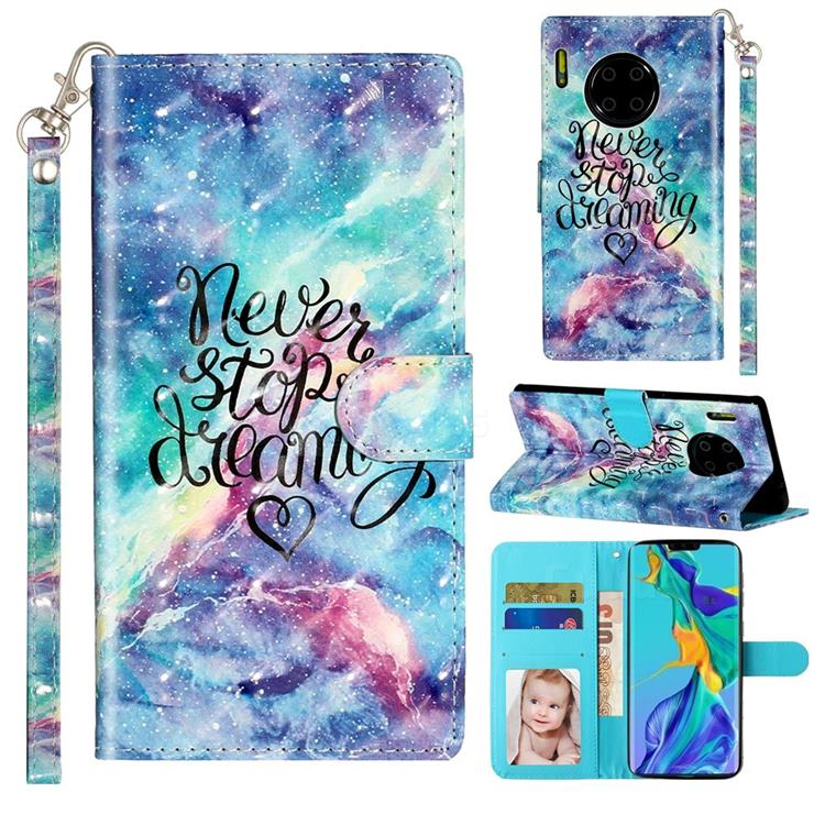 Blue Starry Sky 3D Leather Phone Holster Wallet Case for Huawei Mate 30 Pro