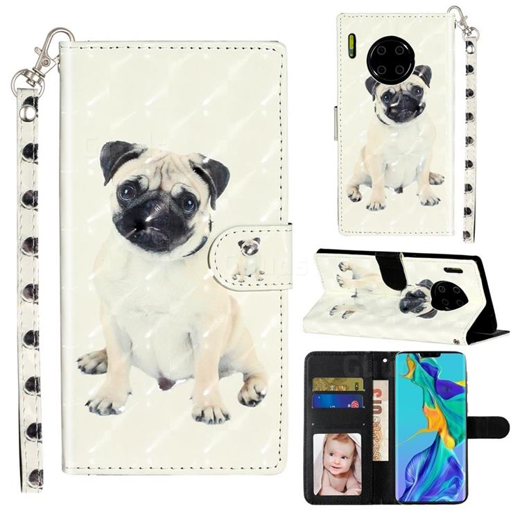Pug Dog 3D Leather Phone Holster Wallet Case for Huawei Mate 30 Pro