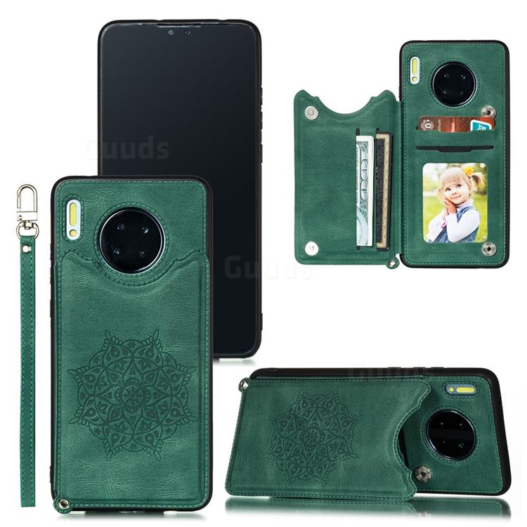 Luxury Mandala Multi-function Magnetic Card Slots Stand Leather Back Cover for Huawei Mate 30 Pro - Green