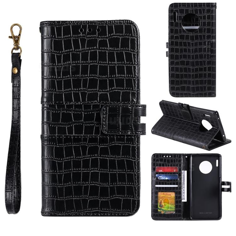 Luxury Crocodile Magnetic Leather Wallet Phone Case for Huawei Mate 30 Pro - Black