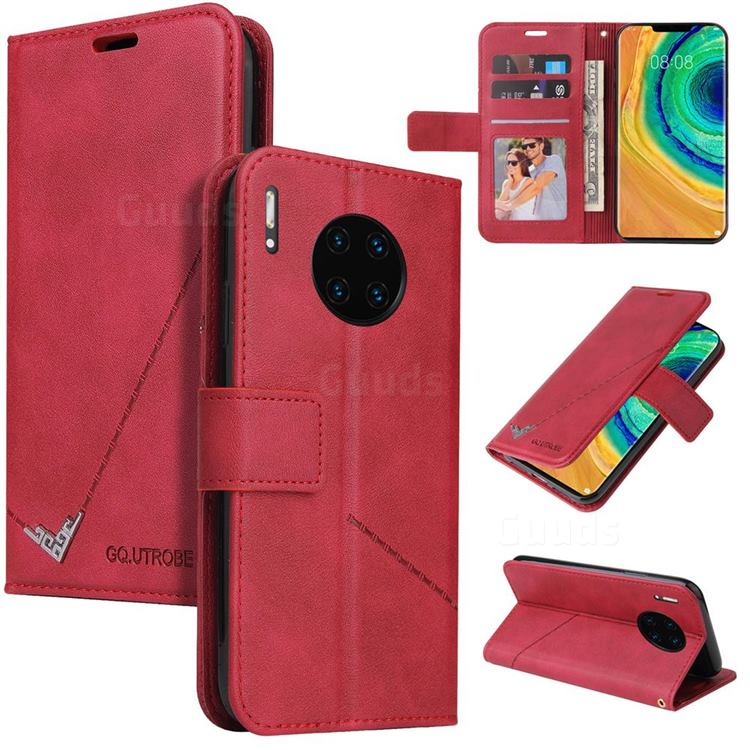 GQ.UTROBE Right Angle Silver Pendant Leather Wallet Phone Case for Huawei Mate 30 Pro - Red
