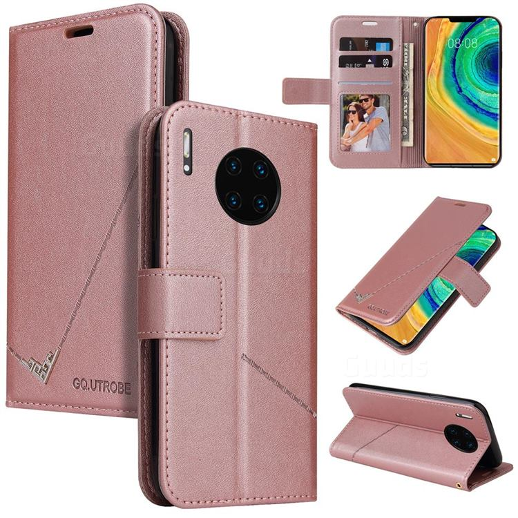 GQ.UTROBE Right Angle Silver Pendant Leather Wallet Phone Case for Huawei Mate 30 Pro - Rose Gold