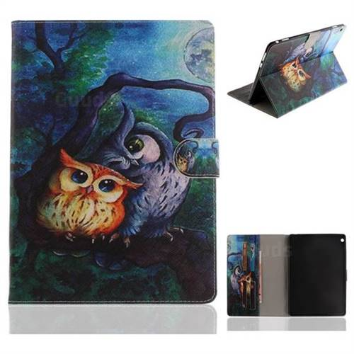 Oil Painting Owl Painting Tablet Leather Wallet Flip Cover for Huawei MediaPad M3 Lite 10