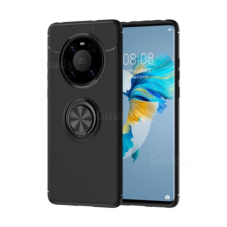 Auto Focus Invisible Ring Holder Soft Phone Case for Huawei Mate 40 - Black