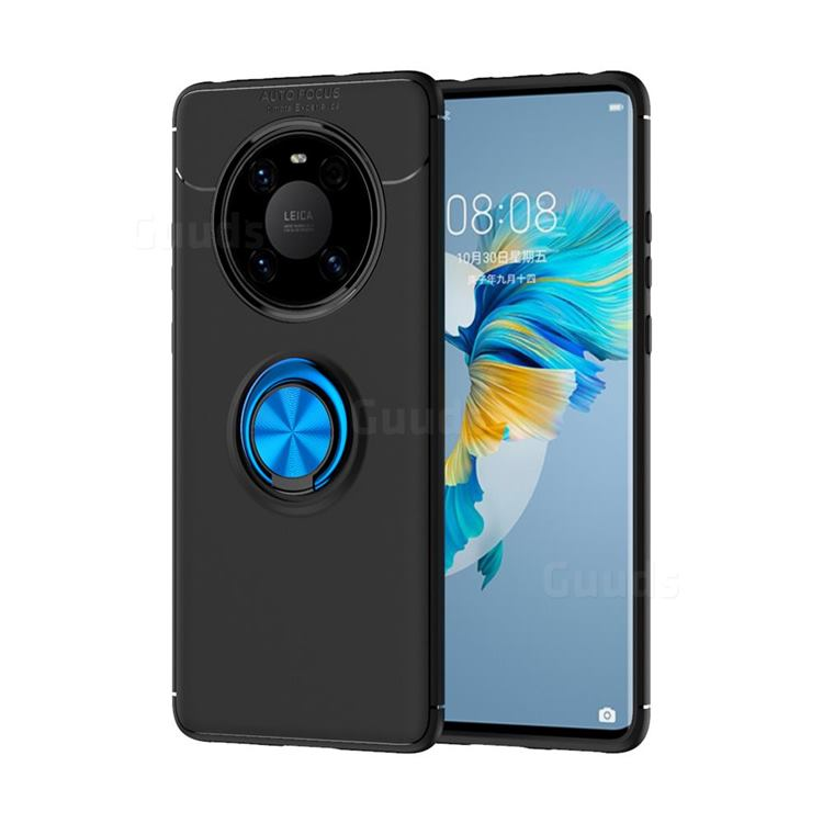 Auto Focus Invisible Ring Holder Soft Phone Case for Huawei Mate 40 - Black Blue