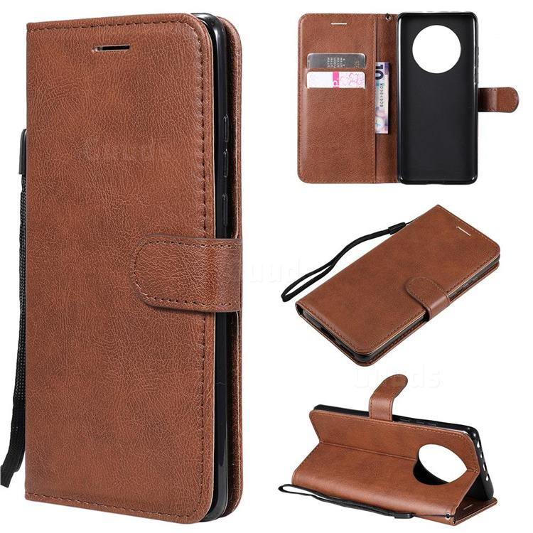 Retro Greek Classic Smooth PU Leather Wallet Phone Case for Huawei Mate 40 - Brown