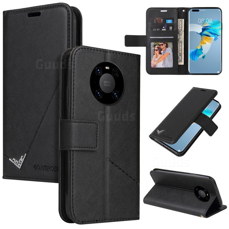 GQ.UTROBE Right Angle Silver Pendant Leather Wallet Phone Case for Huawei Mate 40 - Black