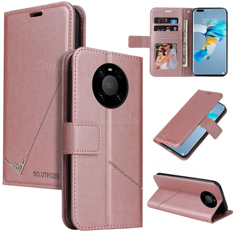 GQ.UTROBE Right Angle Silver Pendant Leather Wallet Phone Case for Huawei Mate 40 - Rose Gold