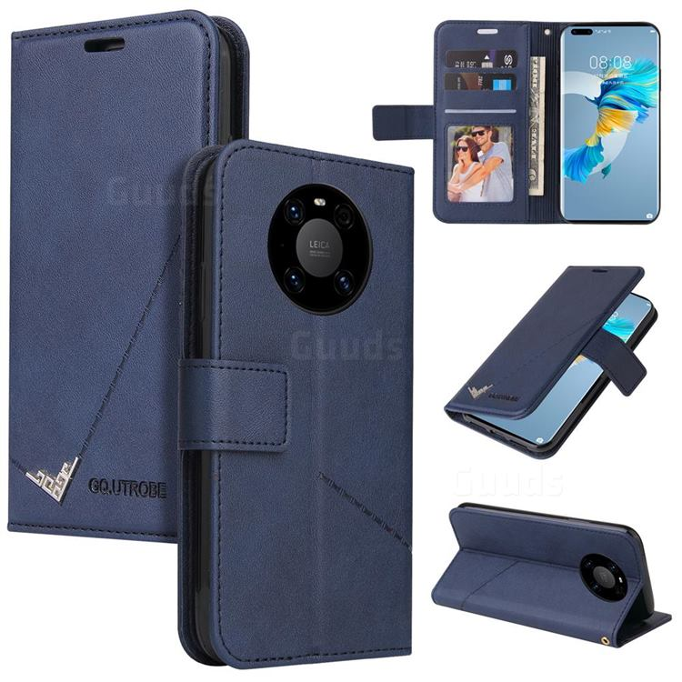 GQ.UTROBE Right Angle Silver Pendant Leather Wallet Phone Case for Huawei Mate 40 - Blue