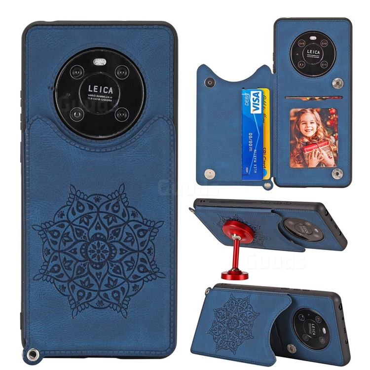 Luxury Mandala Multi-function Magnetic Card Slots Stand Leather Back Cover for Huawei Mate 40 - Blue
