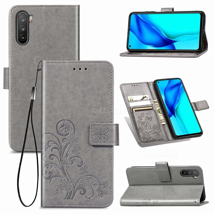 Embossing Imprint Four-Leaf Clover Leather Wallet Case for Huawei Mate 40 Lite - Grey