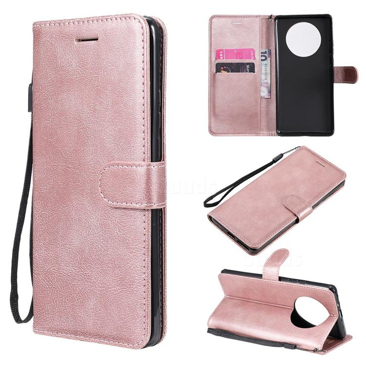 Retro Greek Classic Smooth PU Leather Wallet Phone Case for Huawei Mate 40 Pro - Rose Gold
