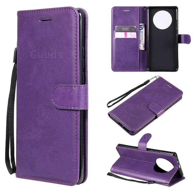 Retro Greek Classic Smooth PU Leather Wallet Phone Case for Huawei Mate 40 Pro - Purple