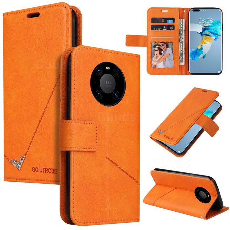 GQ.UTROBE Right Angle Silver Pendant Leather Wallet Phone Case for Huawei Mate 40 Pro - Orange