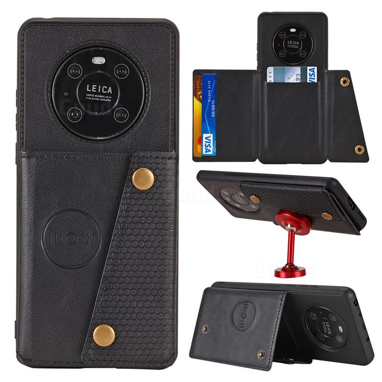 Retro Multifunction Card Slots Stand Leather Coated Phone Back Cover for Huawei Mate 40 Pro - Black