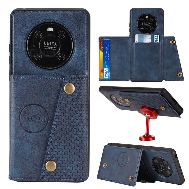 Retro Multifunction Card Slots Stand Leather Coated Phone Back Cover for Huawei Mate 40 Pro - Blue