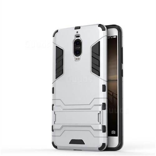 Armor Premium Tactical Grip Kickstand Shockproof Dual Layer Rugged Hard Cover for Huawei Mate 9 Pro 5.5 inch - Silver