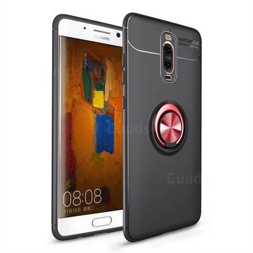 Auto Focus Invisible Ring Holder Soft Phone Case for Huawei Mate 9 Pro 5.5 inch - Black Red