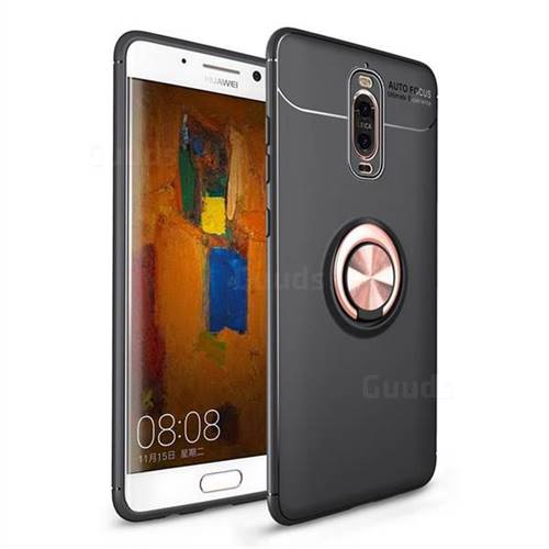 Auto Focus Invisible Ring Holder Soft Phone Case for Huawei Mate 9 Pro 5.5 inch - Black Gold