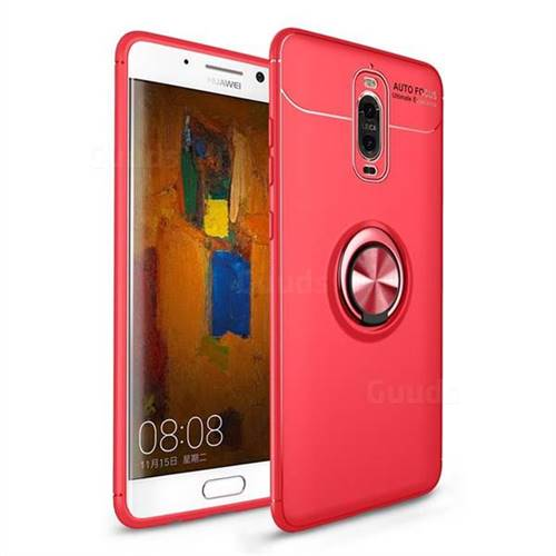 Auto Focus Invisible Ring Holder Soft Phone Case for Huawei Mate 9 Pro 5.5 inch - Red
