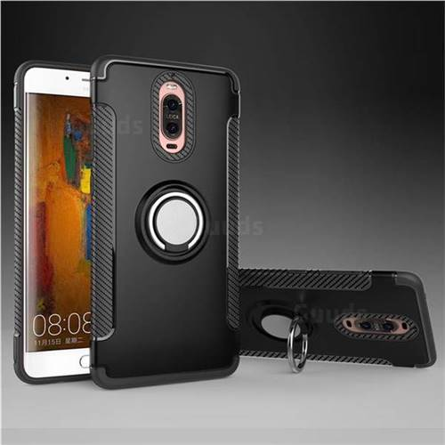 Armor Anti Drop Carbon PC + Silicon Invisible Ring Holder Phone Case for Huawei Mate 9 Pro 5.5 inch - Black