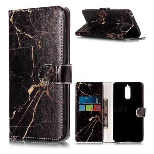 Black Gold Marble PU Leather Wallet Case for Huawei Mate 9 Pro 5.5 inch