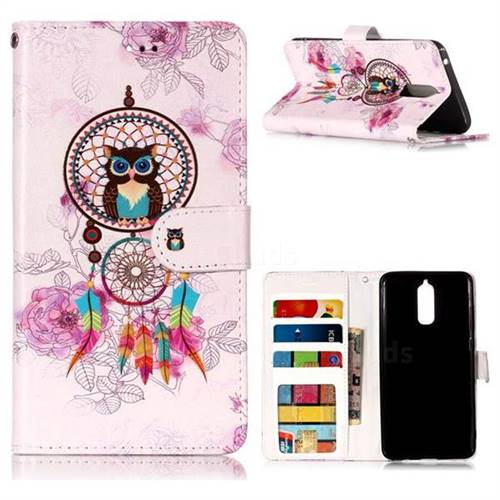 Wind Chimes Owl 3D Relief Oil PU Leather Wallet Case for Huawei Mate 9 Pro 5.5 inch